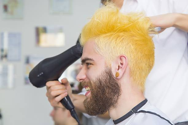funny yellow hair - gekleurd haar stockfoto's en -beelden