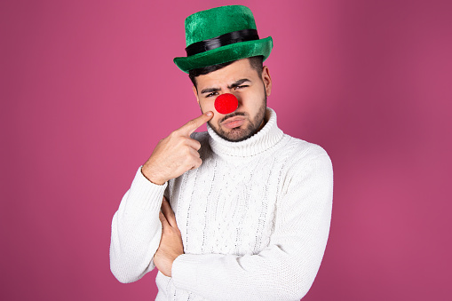 Young man in clown makeup stock image. Image of bristle