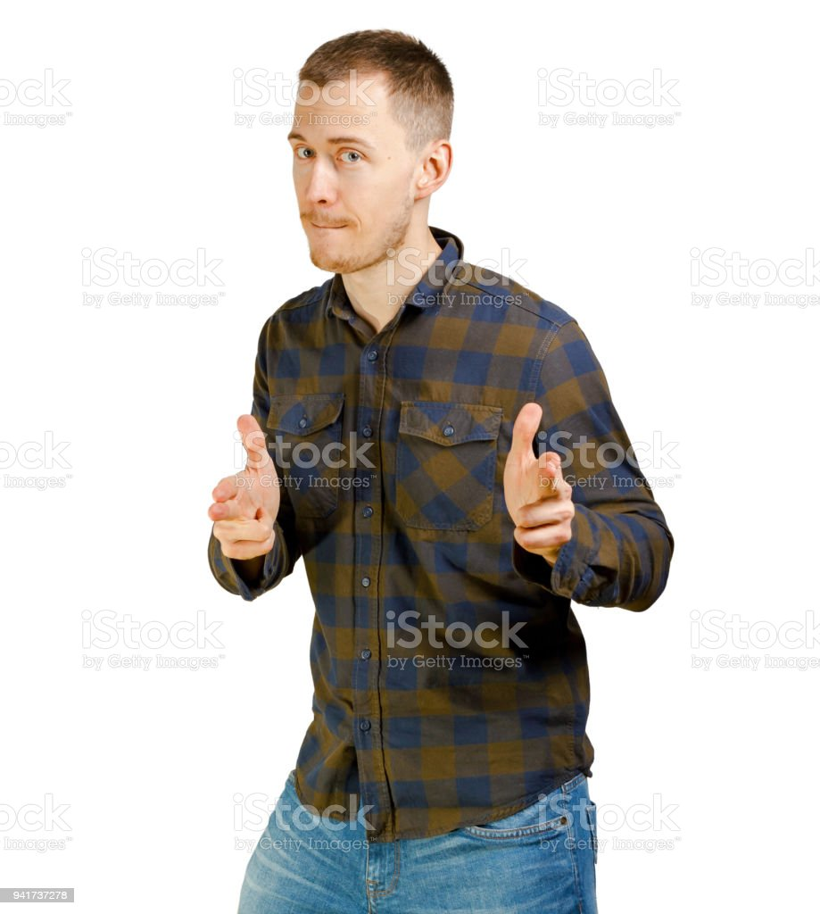Fotografía de Funny Joven En Ropa Casual Camisa A Cuadros Haciendo ...