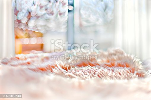 Wool bed sheet on the bed close up and detailed image which spread by sunlight