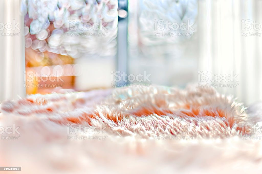 Fur blanket on the bed close up and detailed image stock photo