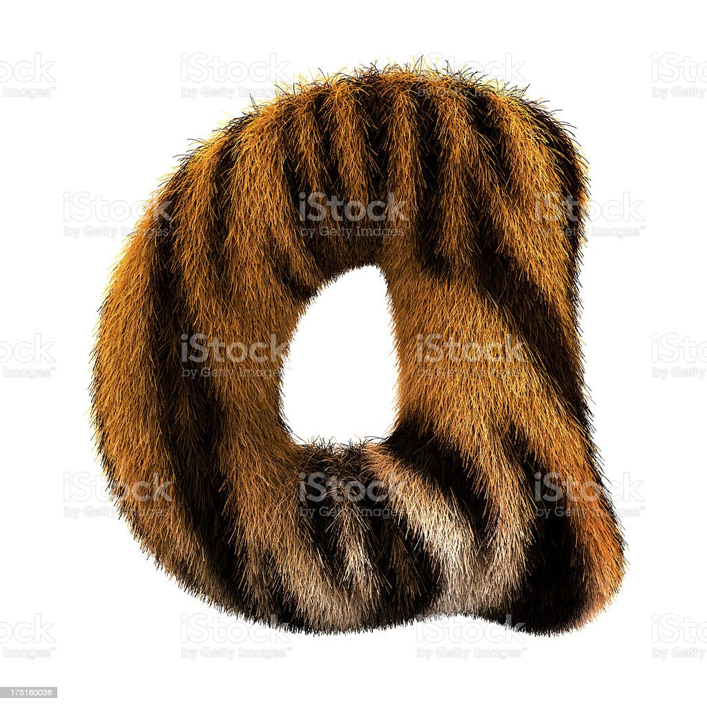 Fur letter A stock photo