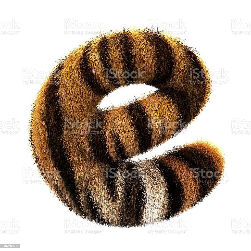 Fur letter E stock photo