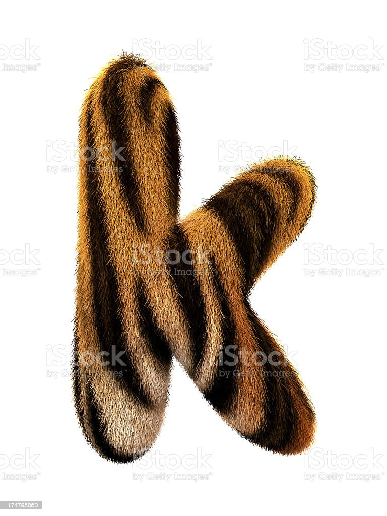 Fur letter K stock photo