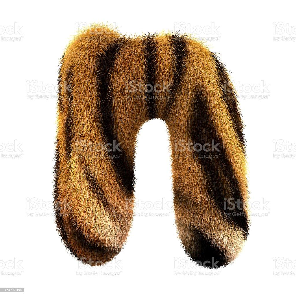Fur letter N stock photo