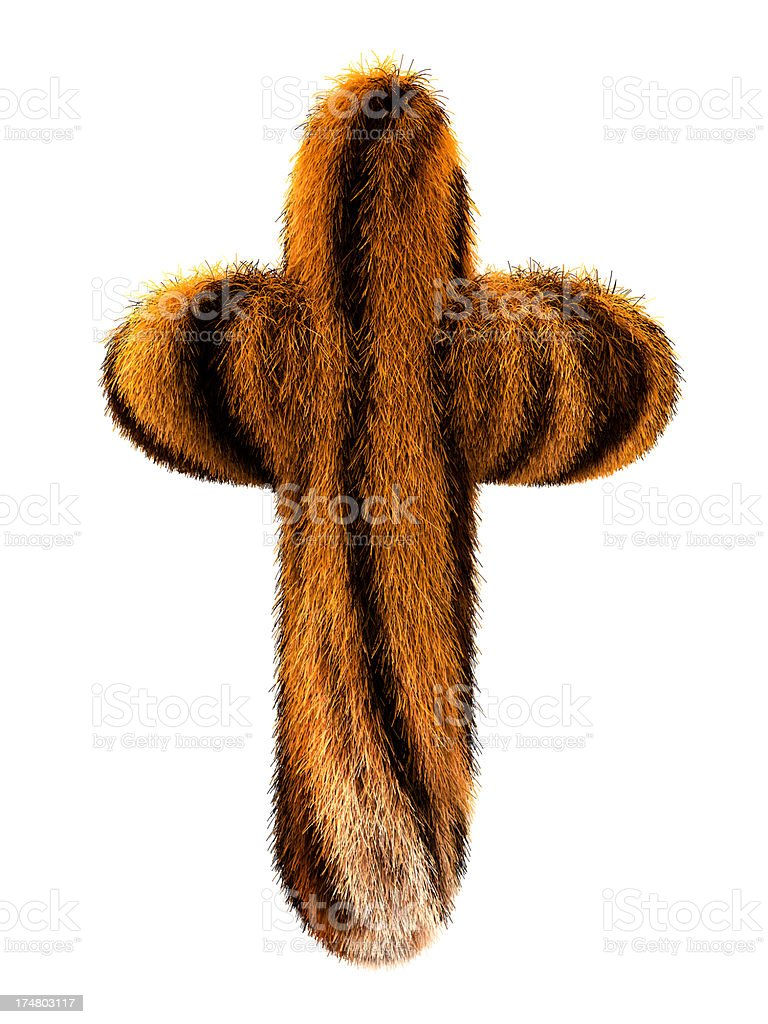 Fur letter T royalty-free stock photo
