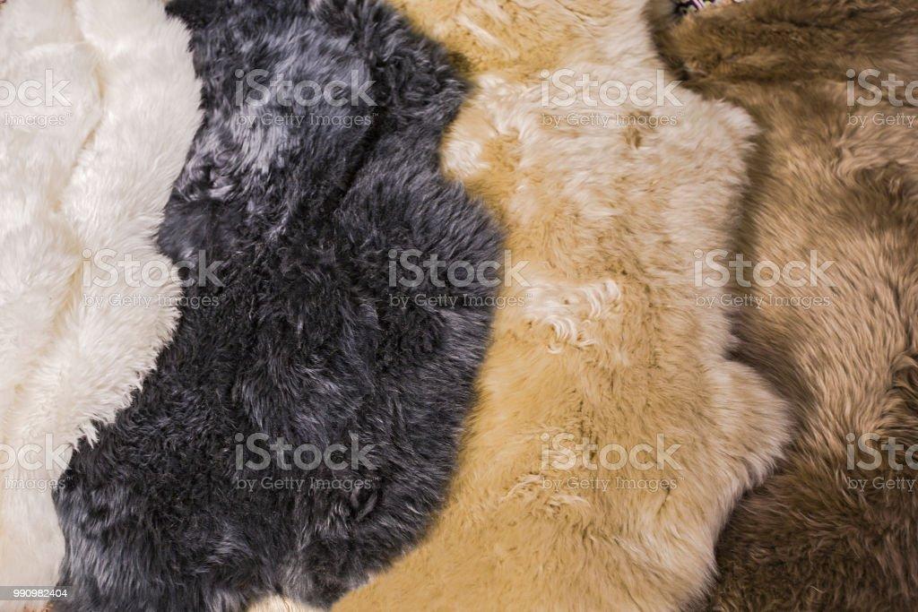Fur skins for sheepskin skins for interior design, white, black,...