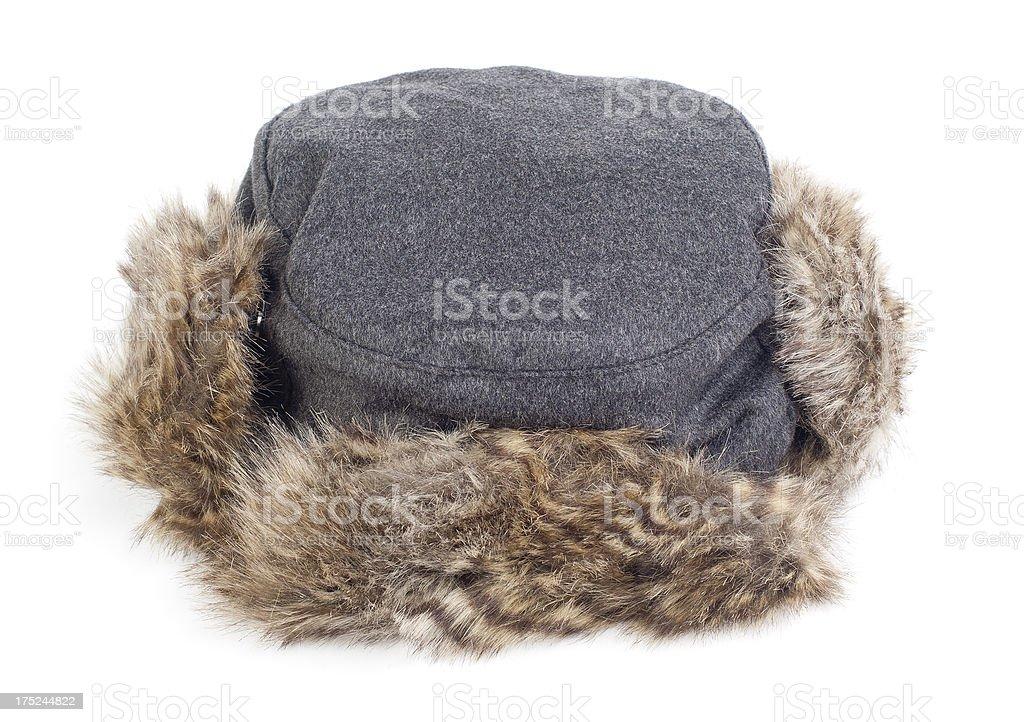Fur trimmed ushanka hat isolated on white stock photo