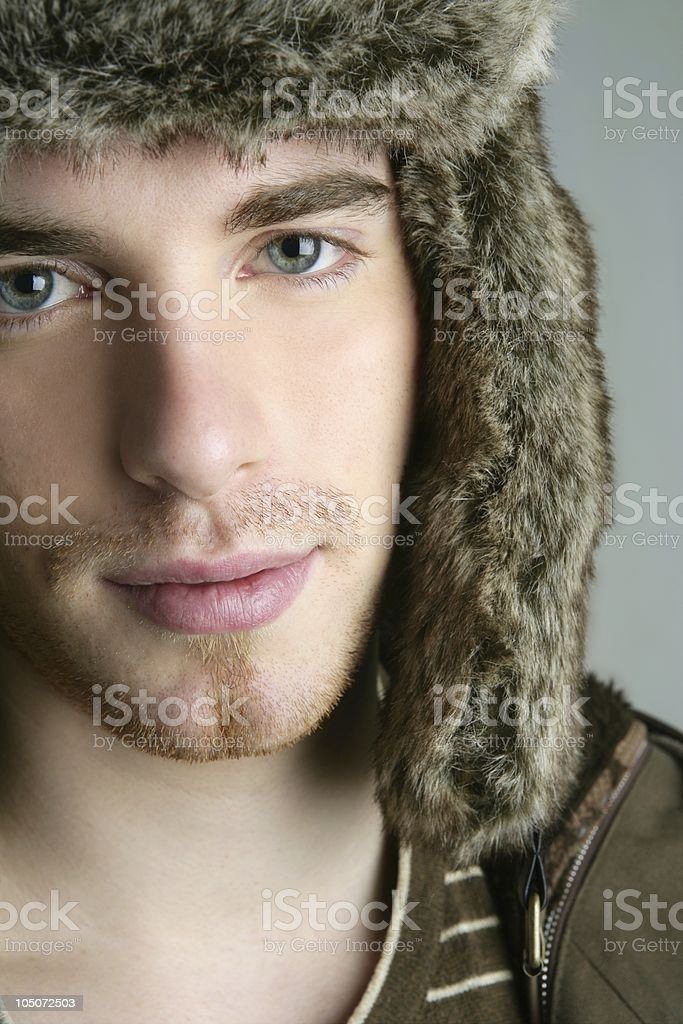 fur winter fashion hat young man brown autumn royalty-free stock photo