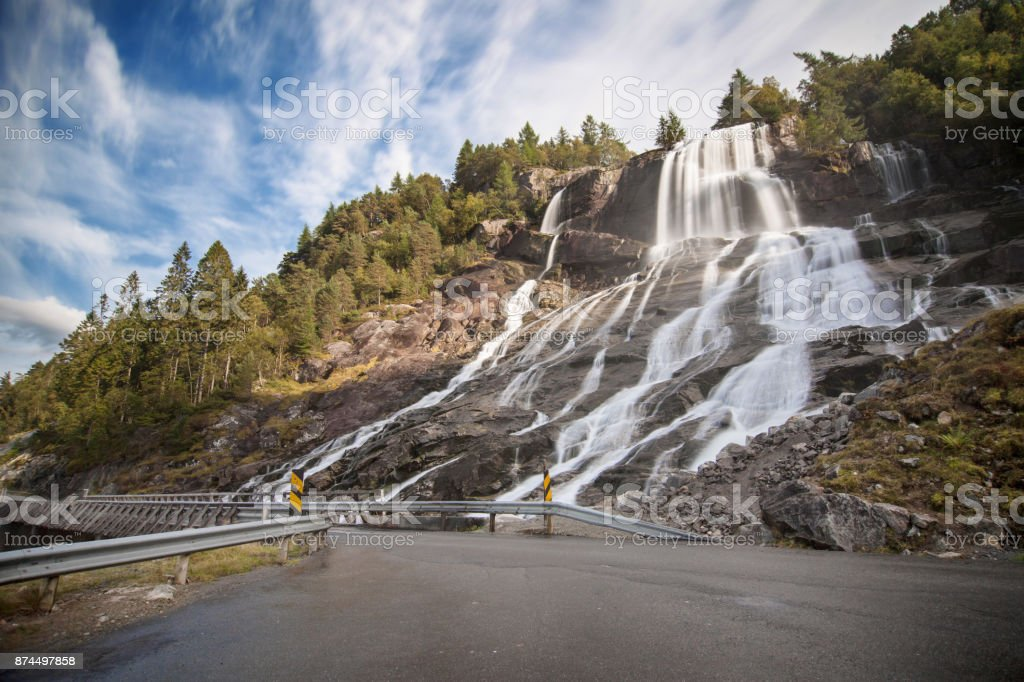 Furebergsfossen Waterfall stock photo