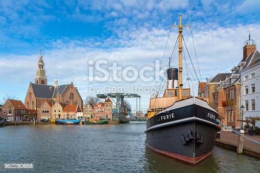 Maassluis, Netherlands, February 11, 2018: Furie ship at the town hall quay