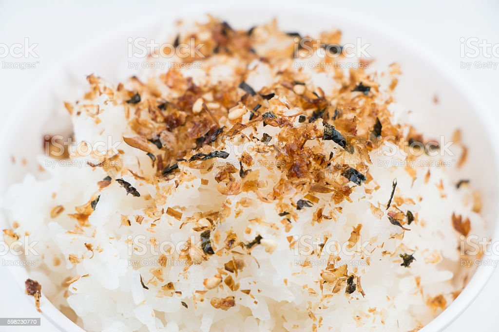 Furikake on rice, Japanese seasoning stock photo