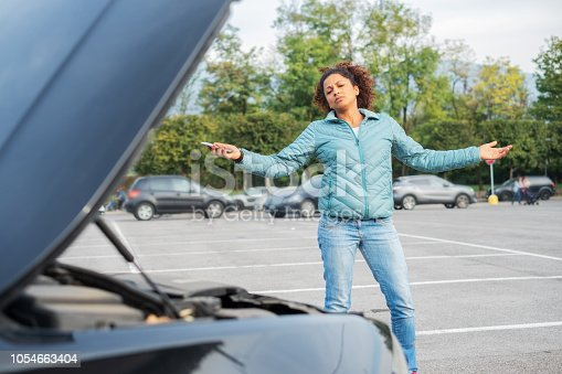 860373412 istock photo Furious and frustrated drive after car breakdown 1054663404