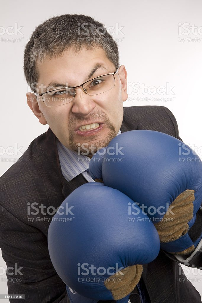 Furious businessman - boxer. royalty-free stock photo