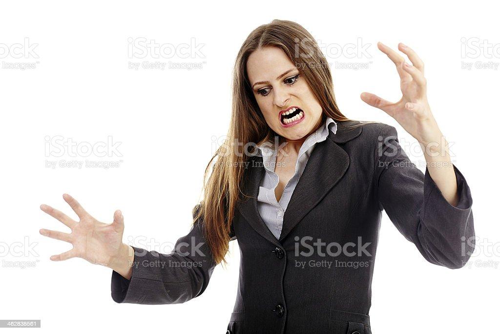 Furious businesswoman threatening royalty-free stock photo