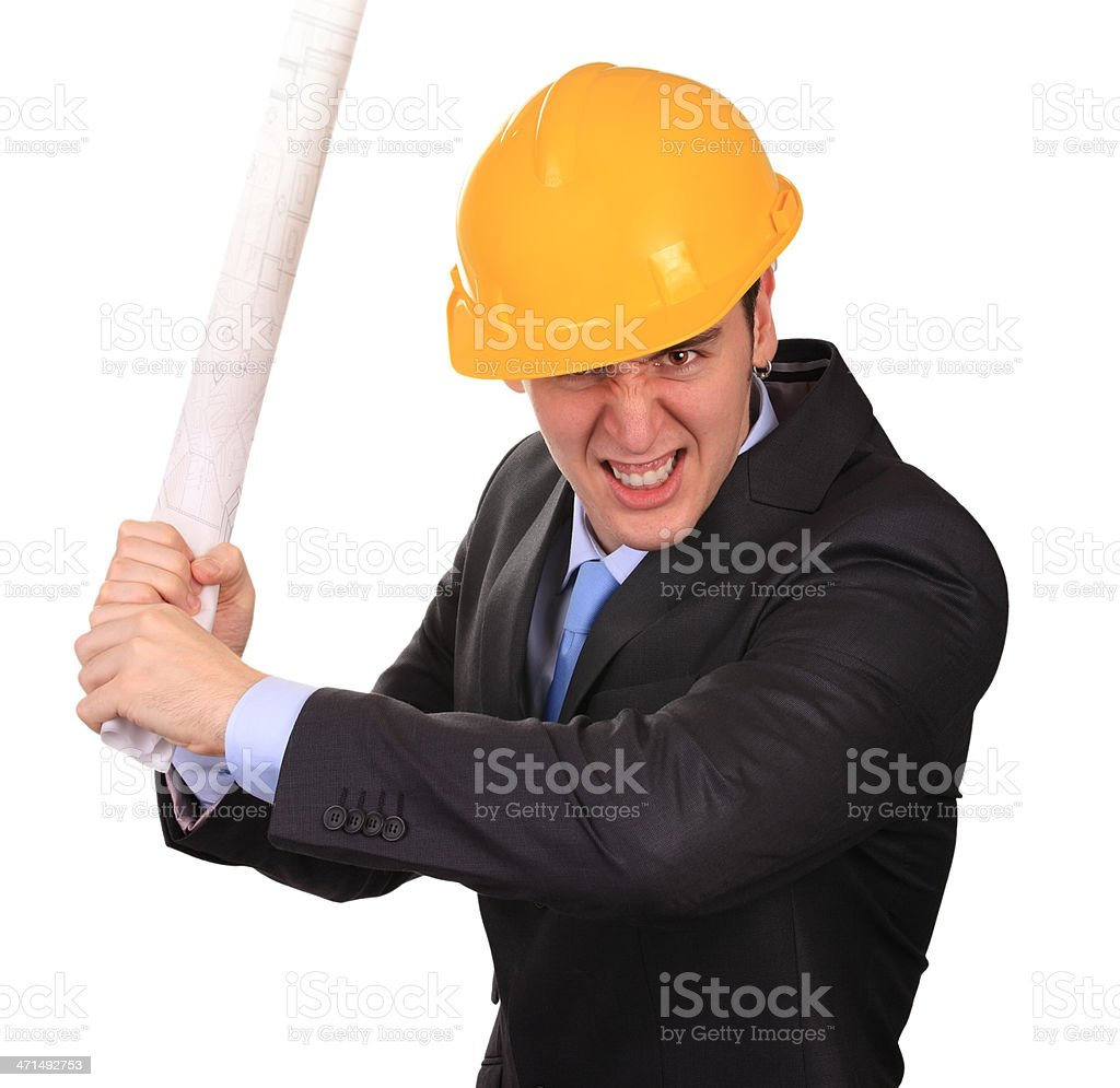 Furious engineer royalty-free stock photo