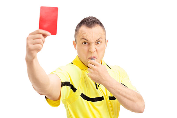 furious football referee showing a red card - judge sports official stock photos and pictures