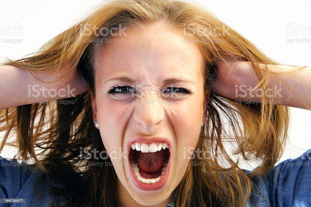 Furious Girl Screaming stock photo