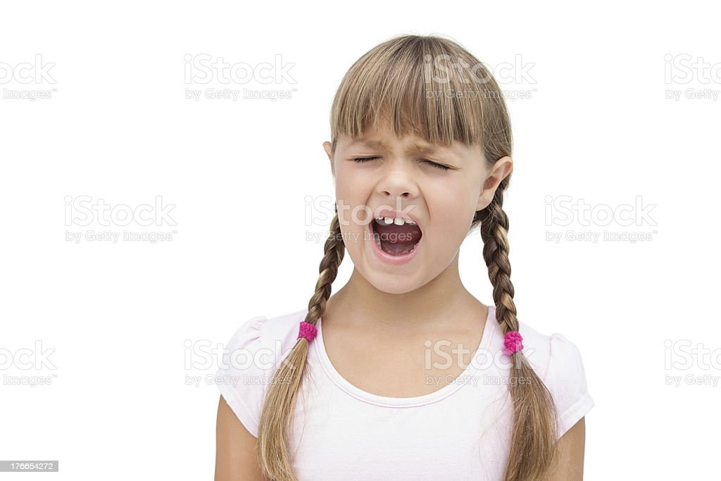 Furious little girl with eyes closed royalty-free stock photo