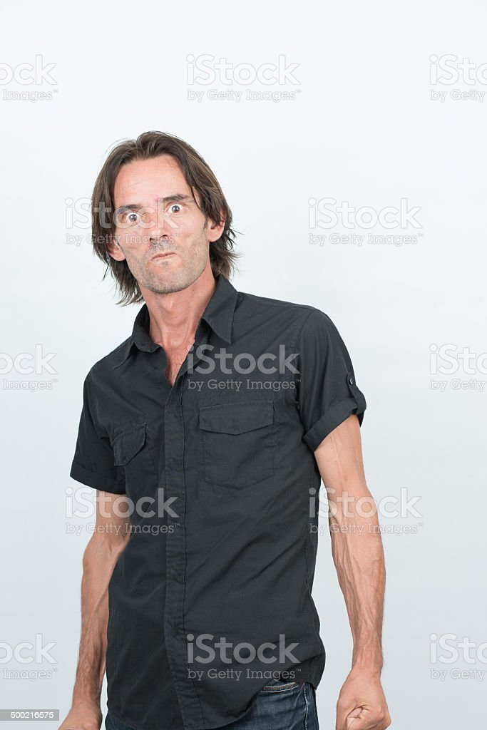 Furious man ready to figt and looking for violence stock photo