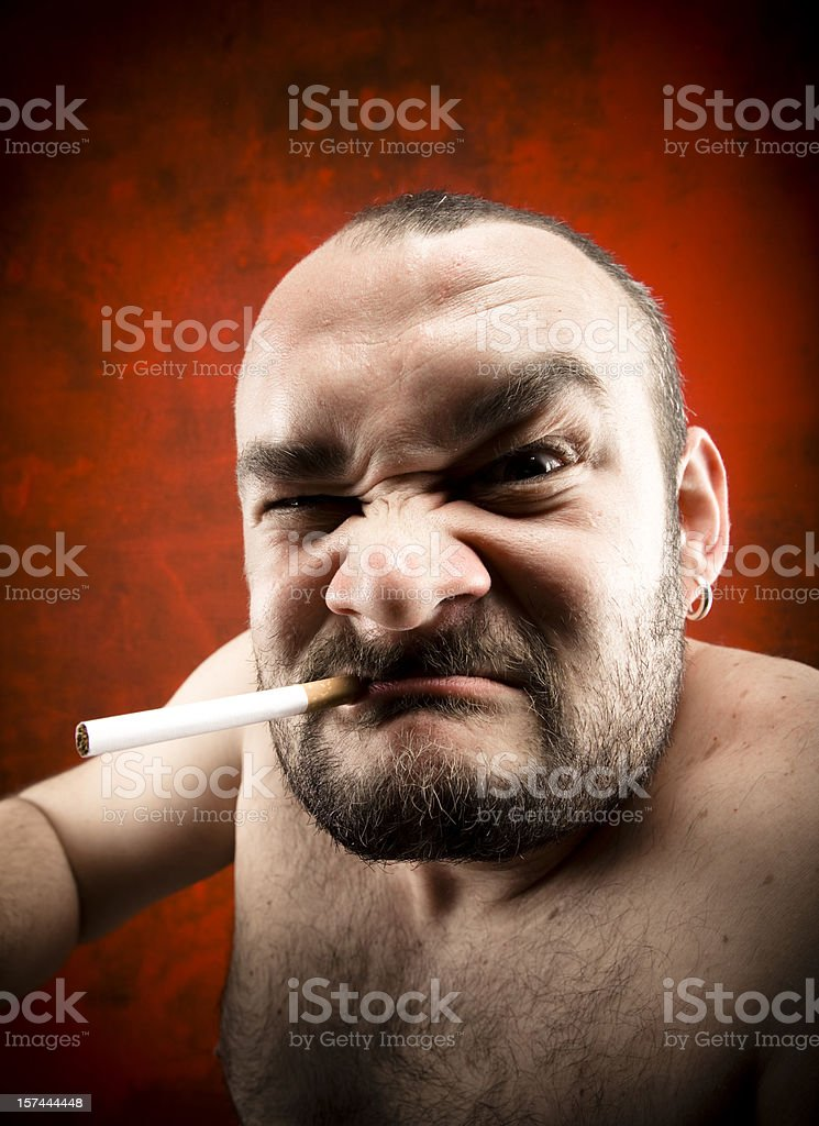 furious man smoking royalty-free stock photo