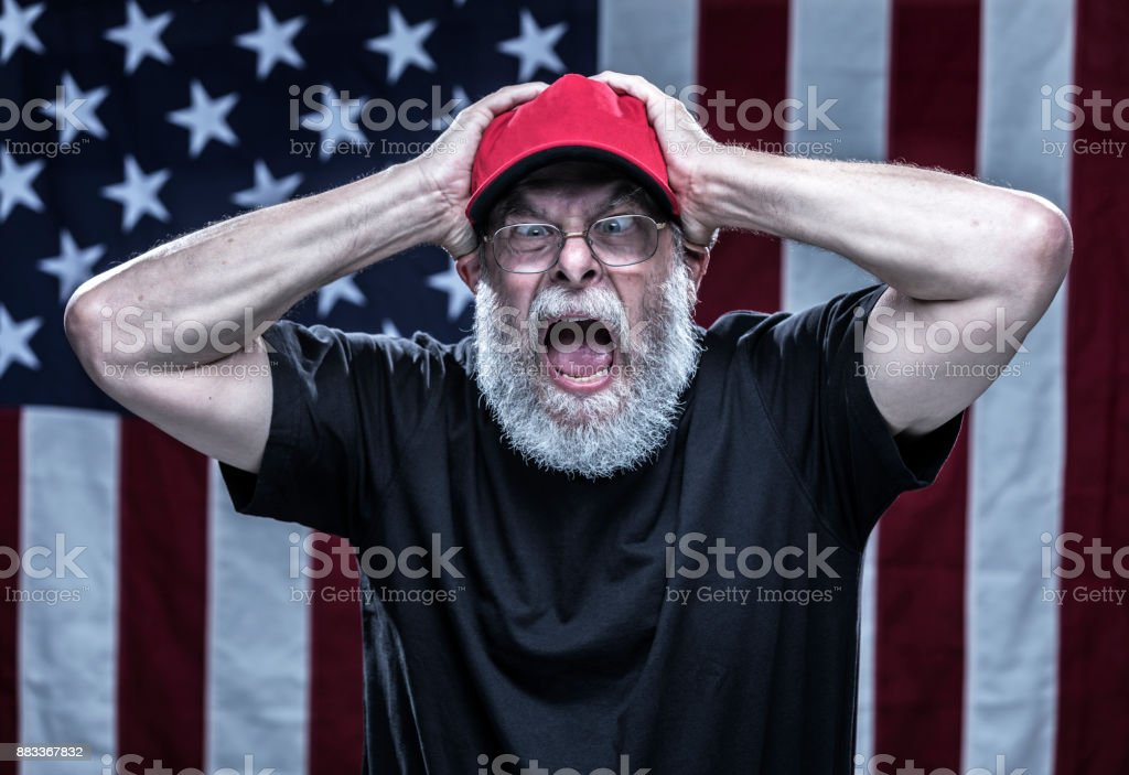Furious Paranoid Partisan Alt-Right Republican Voter stock photo