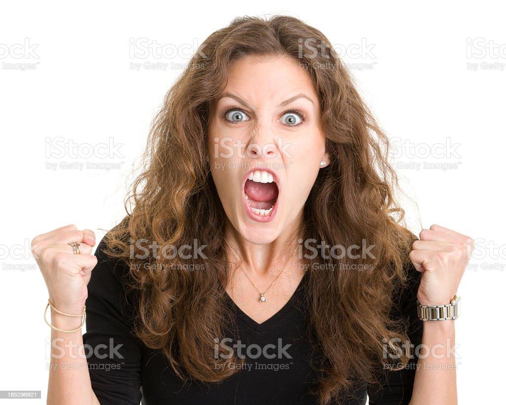Furious Screaming Young Woman stock photo
