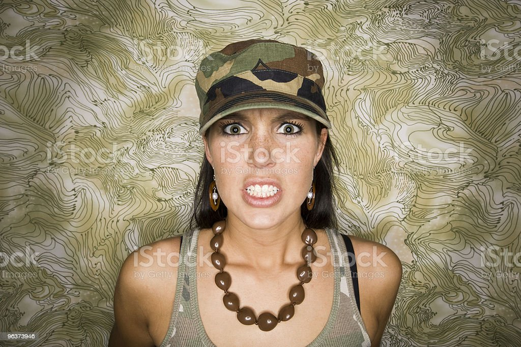 Furious Woman in Camo royalty-free stock photo