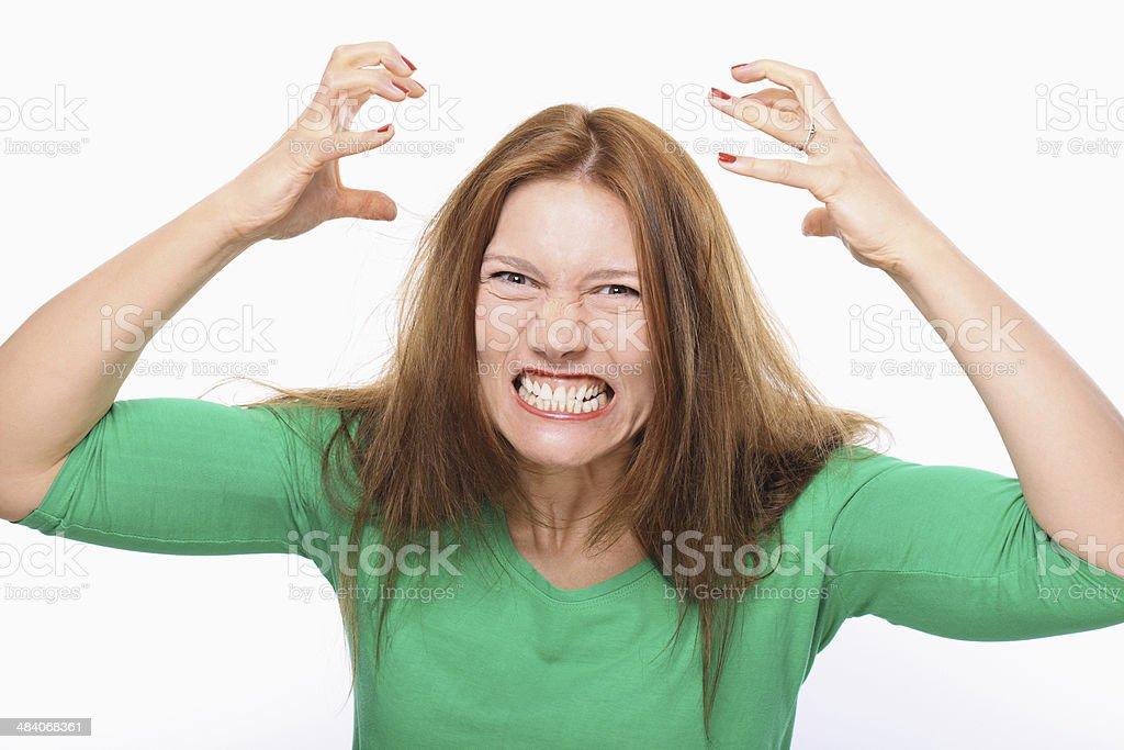 Furioso joven mujer retrato. - Foto de stock de 20-24 años libre de derechos