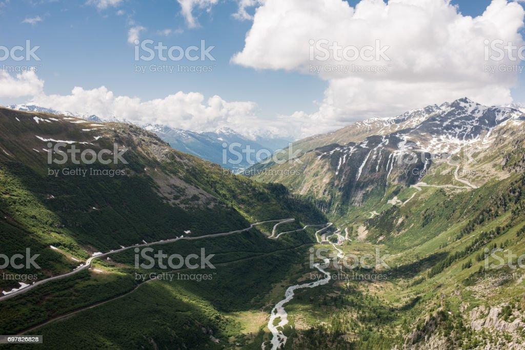 Furkapass and grimselpass stock photo