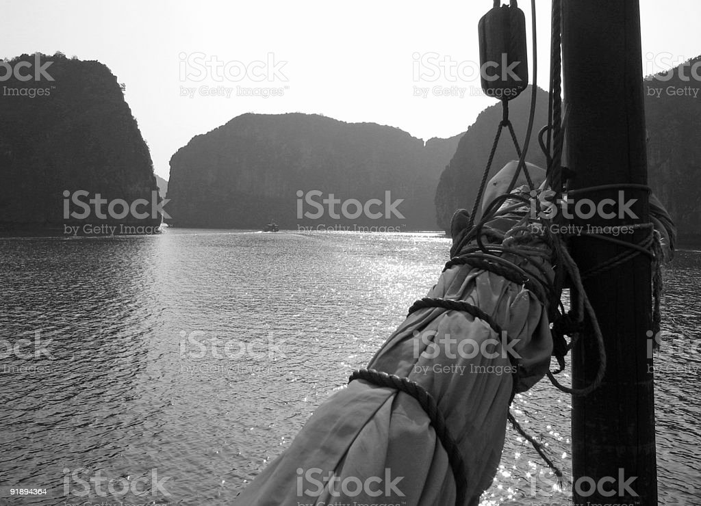Furled Sail in Black and White stock photo