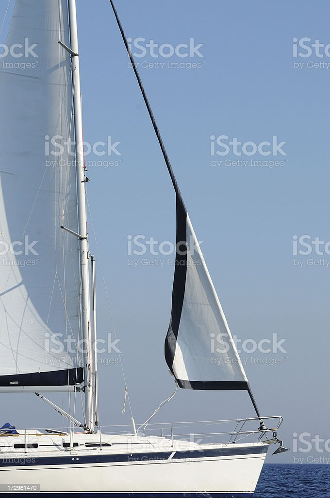 Furling sails royalty-free stock photo