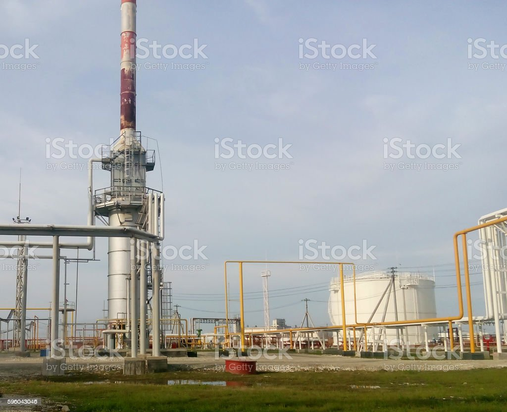 Furnace for heating oil at the refinery royalty-free stock photo