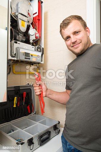 istock Furnace Repairman 589555010