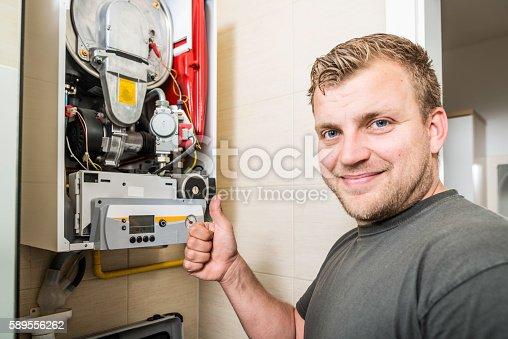 istock Furnace Repairman 589556262