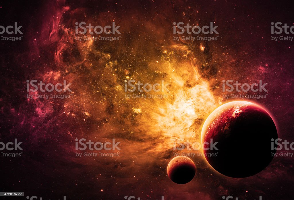 NASA furnished image of what alien worlds would look like stock photo