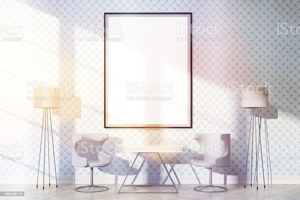 Furnished interior with frame toning royaltyfri bildbanksbilder