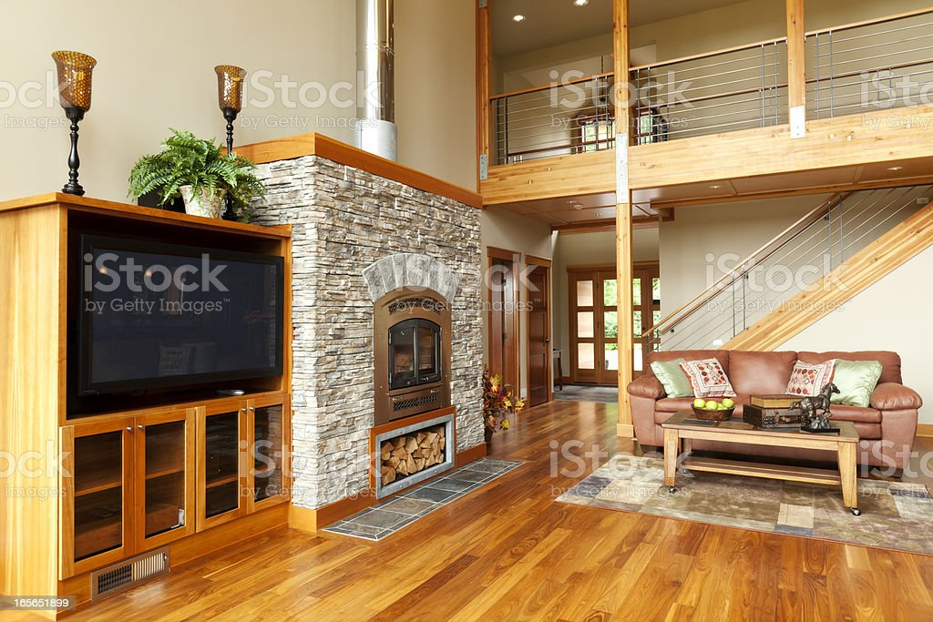 Furnished living room of new home royalty-free stock photo