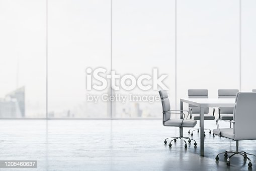 Furnished white conference room with table, chairs and large window overlooking the city. 3D Rendering