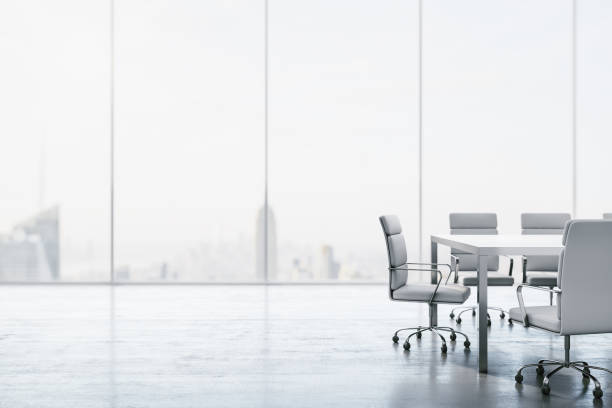 Furnished white conference room with table, chairs and large window overlooking the city. 3D Rendering Furnished white conference room with table, chairs and large window overlooking the city. 3D Rendering board room stock pictures, royalty-free photos & images