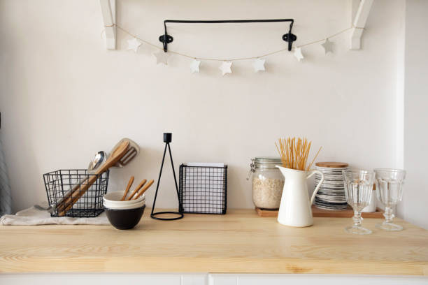 Furniture and dishware in kitchen stock photo
