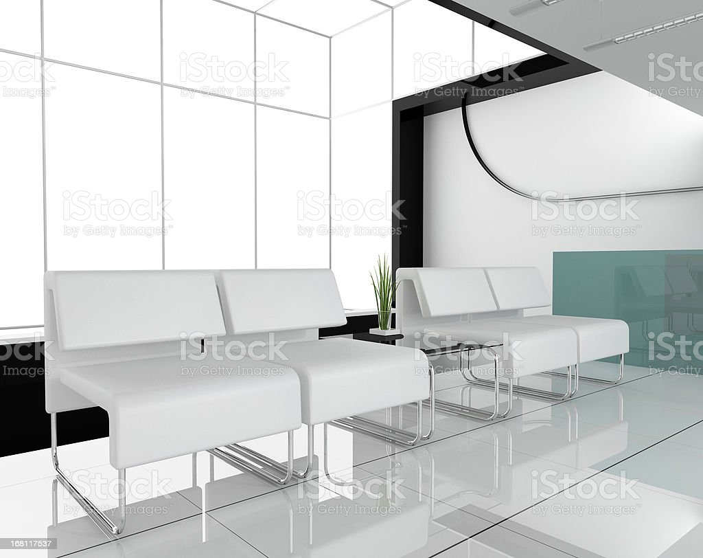 Furniture at white office stock photo