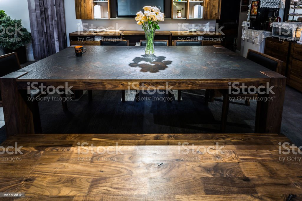 Furniture display, solid wood, stone desktop stock photo