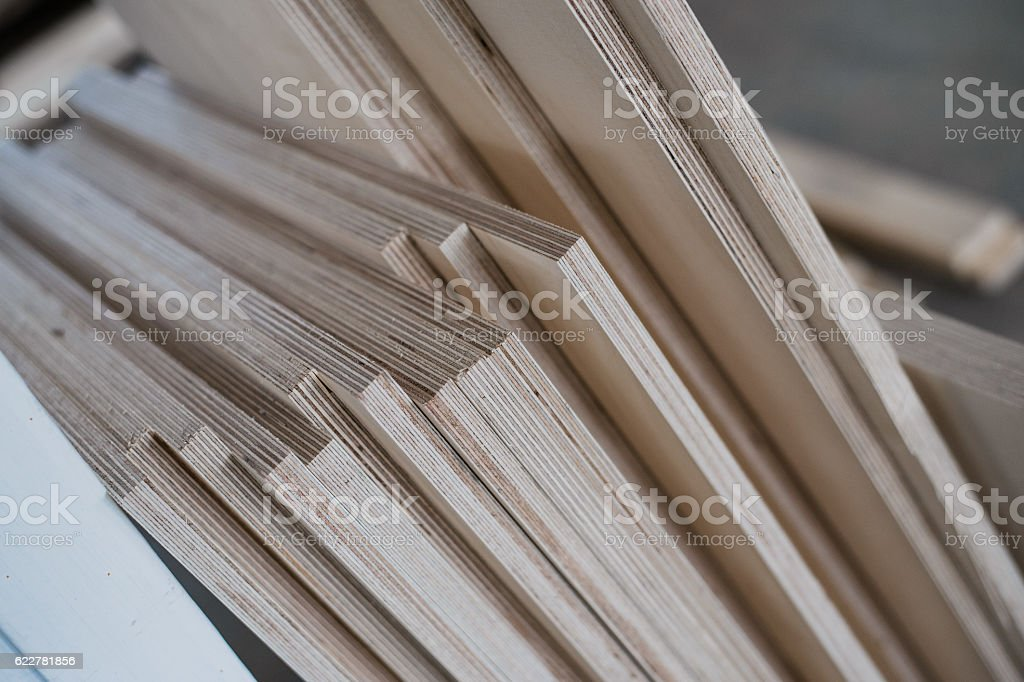 furniture edges and TOOLS. Plywood cuttings for use as textures stock photo