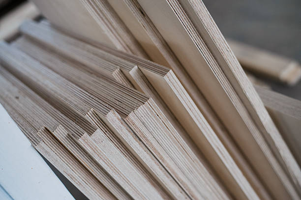 furniture edges and tools. plywood cuttings for use as textures - schalung stock-fotos und bilder