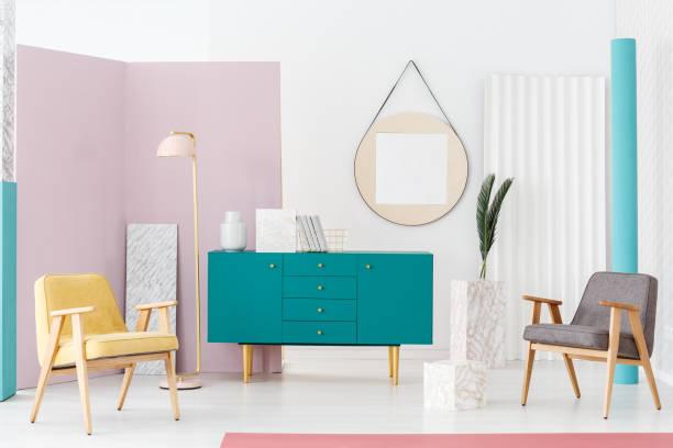 möbel für moderne wohnzimmer - sideboard skandinavisch stock-fotos und bilder