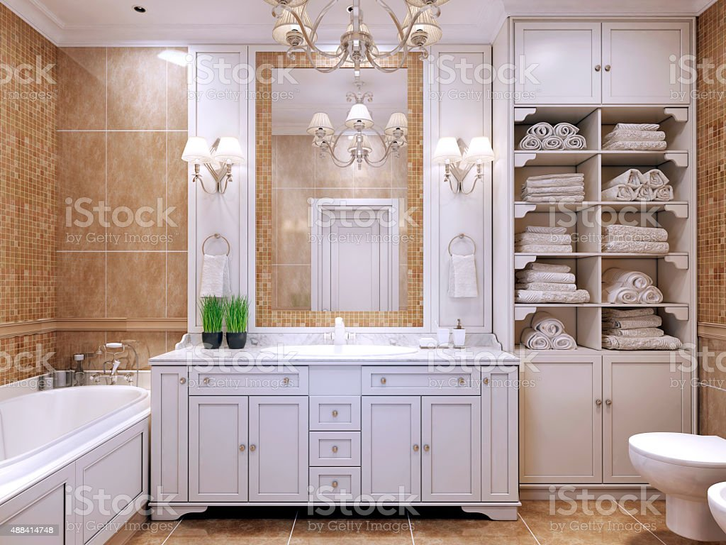 Furniture in classic bathroom stock photo
