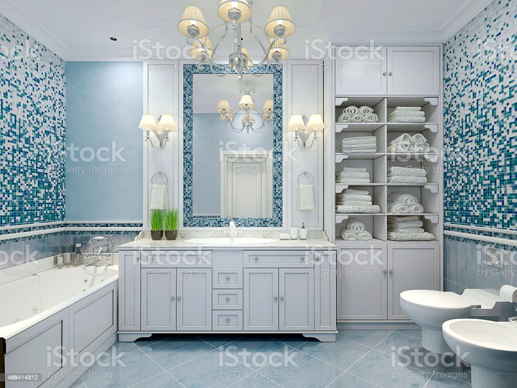 Furniture in classic blue bathroom. Blue colored bathroom with white...