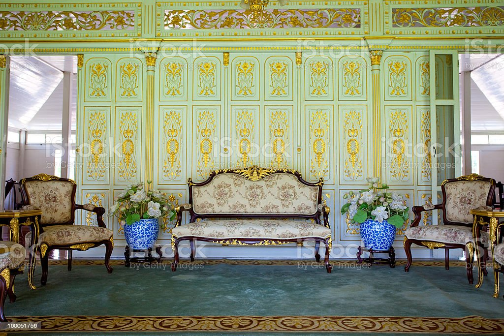 furniture in palace stock photo