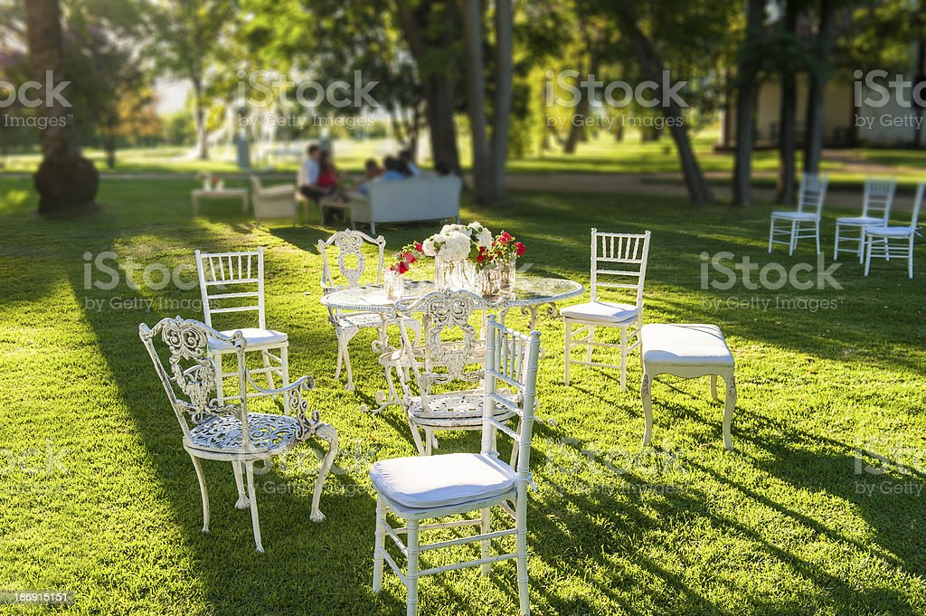 Furniture in the garden royalty-free stock photo